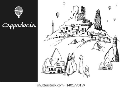 Cappadocia. Hand drawn turkish famous travel place. Gradient color. Caves, stones and ballons in the sky. Vector illustration for banner or print design