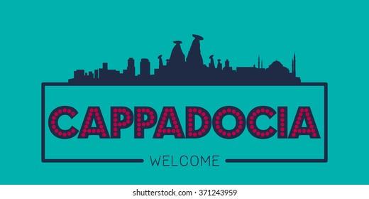 Cappadocia Turkey city skyline silhouette vector design