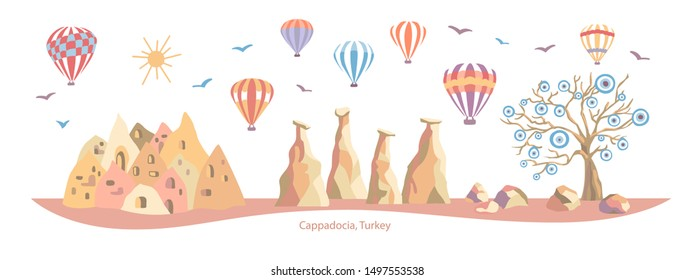 Cappadocia, Turkey. Colorful vector illustration of a famous Turkish travel destination. Evil eye tree, caves, stones, fairy chimneys, bright hot air balloons. Horizontal banner, card, poster design.