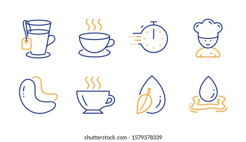 Cappuccino, Cooking timer and Cashew nut line icons set. Water drop, Coffee and Cooking chef signs. Tea, Water splash symbols. Espresso cup, Stopwatch. Food and drink set. Line cappuccino icon. Vector