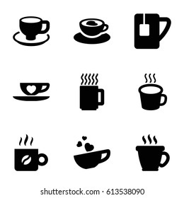 Cappuccino icons set. set of 9 cappuccino filled icons such as coffee, coffee cup, cup with heart
