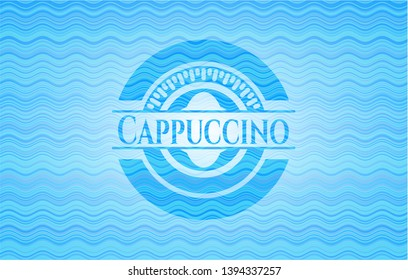 Cappuccino sky blue water wave style badge. Vector Illustration. Detailed.