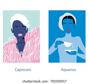 Capricorn and aquarius woman horoscope signs. Vector illustration.