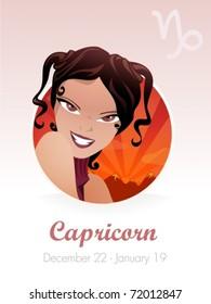 Capricorn astrological sign.Vector illustration