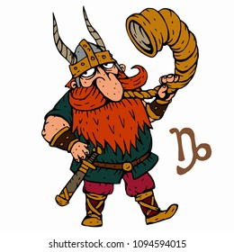 Capricorn. Funny Viking zodiac sign, horoscope symbol . Vector illustration cartoon style character. Isolated object