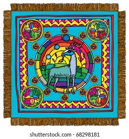 Capricorn horoscope sign carpet