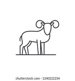Capricorn line icon concept. Capricorn vector linear illustration, symbol, sign