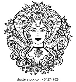 Capricorn - Zodiac hand drawn illustration, woman with horns, beautiful design for coloring book, t-shirt, apparel, tattoo.