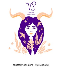 Capricorn of zodiac, horoscope concept, vector art, illustration. Beautiful girl silhouette. Astrological sign as a beautiful women. Future telling, horoscope, alchemy, spirituality, occultism