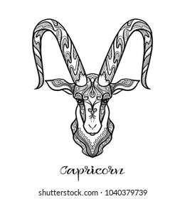 Capricorn Zodiac sign. Astrological horoscope collection. Outline vector illustration. Outline hand drawing coloring page for the adult coloring book.