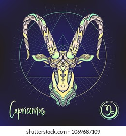 Capricorn Zodiac sign. Astrological horoscope collection. Multicolor on black dackground. Vector illustration