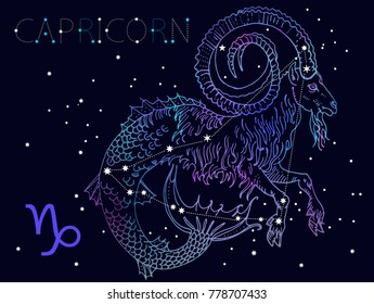 Capricorn Zodiac sign and constellation on a cosmic dark blue background with stars. Hand drawn vintage engraving style vector illustration. Space, astrology, horoscope, astronomy, fantasy design.