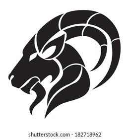 Capricorn zodiac sign. Isolated on white background. Vector Illustration