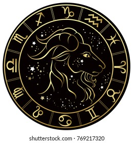 Capricorn. Zodiac sign on a dark background in a gold frame with stars. Vector illustration.