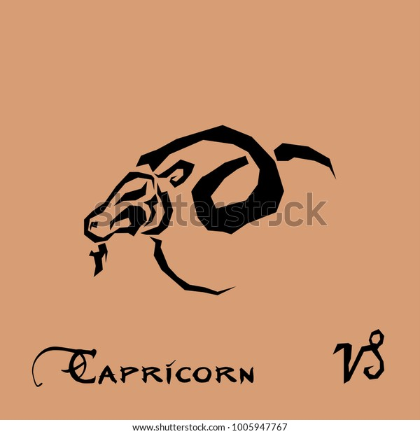 Capricorn Zodiac Sign Tattoo Art Stock Vector Royalty Free 1005947767