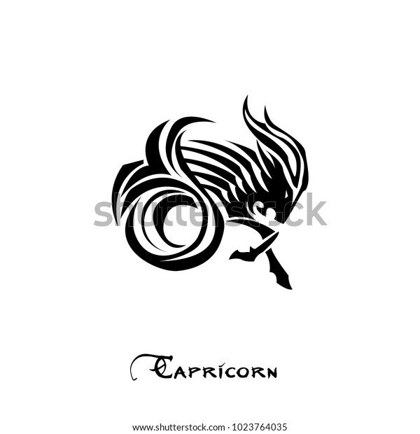 Capricorn Zodiac Sign Tattoo Art Vector Stock Vector Royalty Free