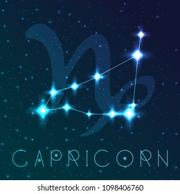 Capricorn zodiac sign. Vector illustration with constellations and hand-drawn astronomical symbols. Shining stars in the night sky.