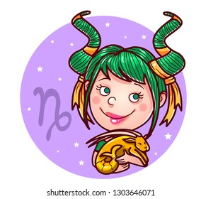 Capricorn zodiac sign, vector illustration.