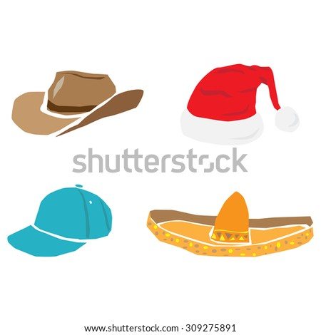 7549b61c65d63c Caps, hats and other head wear set. Illustration of a set of hats, baseball  sport winter cap, sombreros and other head wear clothes equipment. - Vector