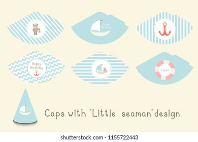 "Caps with ""little seaman"" design. Can be used for baby shower, birhday party"