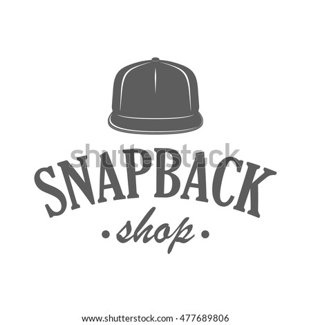 d1b0f6aeab3 Caps shop logo in vintage style. Vector label for snapback hats store  advertising or window