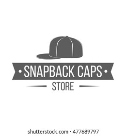 c50d596c774 Caps store logo. Monochrome label with baseball hat and ribbon isolated on  white background.