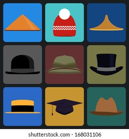 Caps, Top Hats And Other Head wear Set - pith helmet, oxford cap and other head wear clothes equipment