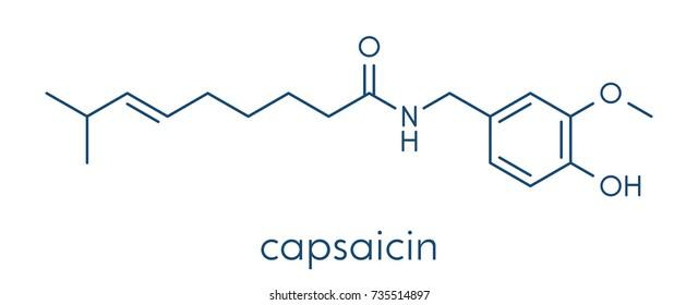 Capsaicin chili pepper molecule. Used in food, drugs, pepper spray, etc.  Skeletal formula.