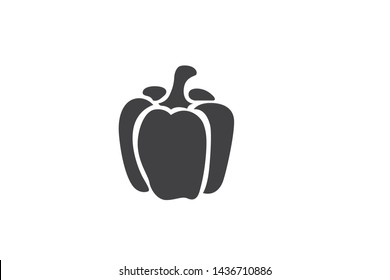 capsicum black icon vector on white background