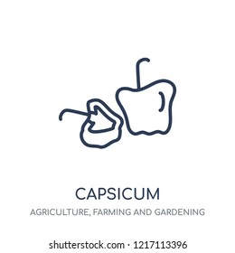Capsicum icon. Capsicum linear symbol design from Agriculture, Farming and Gardening collection. Simple outline element vector illustration on white background.