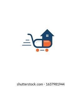 Capsule cart and home icon logo. Medicine home delivery service logo concept.