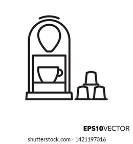 Capsule coffee machine line icon. Outline symbol of hor drinks and beverages preparation. Kitchenware flat vector illustration.