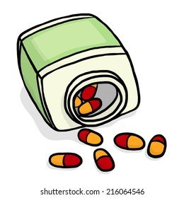 capsule drug and container bottle / cartoon vector and illustration, hand drawn style, isolated on white background.