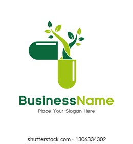 Capsule pharmacy medical logo template vector. Logo with tree, nature or leaf with blue and green color. This logo is suitable for health business, doctor, hospital, cross symbol.