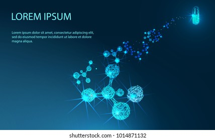 Capsule pill and molecules. Health Care Vector illustration. Medical concept. Banner. Low poly vector illustration of a starry sky or Cosmos.