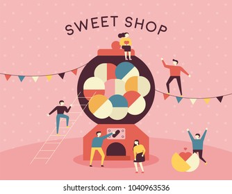 capsule toy machine concept sweet shop and downsizing characters. hand drawing style vector illustration flat design