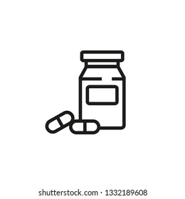 Capsuled pills line icon. Medicine, hospital, healthcare. Pharmaceutical concept. Vector illustration can be used for topics like apothecary, pharm store, hospital