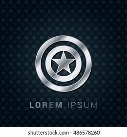 Captain America 3D Silver/Platinum/Steel Metallic Premium Icon / Logo Design