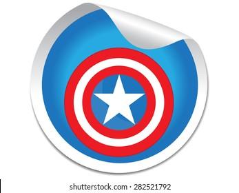 Captain America Shield sticker.Vector