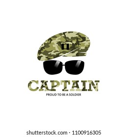 Captain Army Soldier Military with Logo with camouflage baret logo Illustration