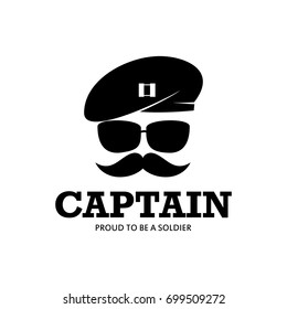 Captain Army Soldier Military Logo with baret Illustration