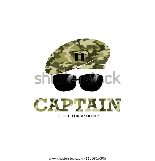Captain Army Soldier Military Logo Camouflage Stock Vector