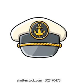 Captain cap icon isolated.