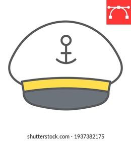 Captain hat color line icon, sea and uniform, captain cap vector icon, vector graphics, editable stroke filled outline sign, eps 10