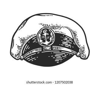 Captain hat isolated on white background. Vector vintage engraving illustration for logo, emblem, tattoo, poster, t-shirt, web and label. Hand drawn in a graphic style.