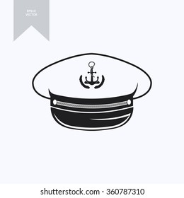 captain hat (nautical captain's hat, vector illustration captains hat )