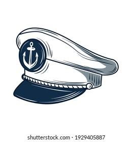 captain hat nautical uniform sketch