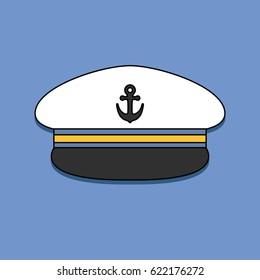 Captain hat. Sailor cap. Vector illustration
