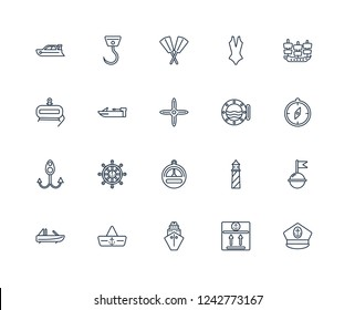 Captain Hat, sea Package, Cargo Ship Front View, Navy Roofless Speed Boat, Old Galleon, Boat Porthole, Barometer, Bait, motorboat, Oars outline vector icons from 20 set