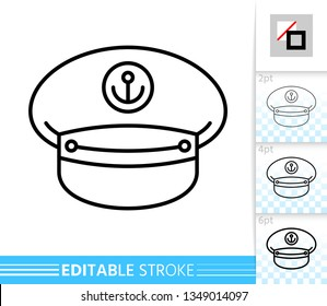 Captain Hat thin line icon. Cap banner in flat style. Sailor poster. Nautical Linear pictogram. Simple illustration, outline symbol. Vector sign isolated on white. Editable stroke icons without fill